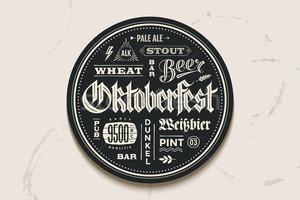 Coaster bière oktoberfest festival dessinés à la main vintage Photo stock © FoxysGraphic