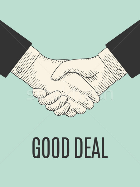 Vintage drawing of handshake in engraving style. Good Deal Stock photo © FoxysGraphic