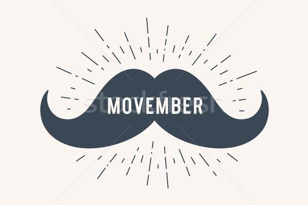 Poster and banner with text Movember and mustache Stock photo © FoxysGraphic