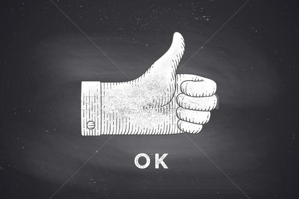 Rajz kézjel remek vésés stílus klasszikus Stock fotó © FoxysGraphic