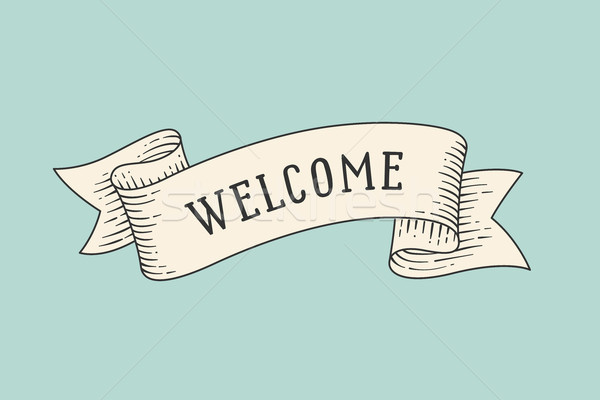 Greeting card with ribbon and word Welcome Stock photo © FoxysGraphic