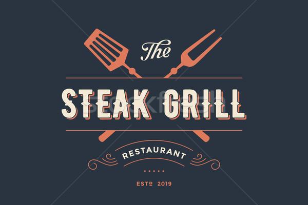 Címke steak grill étterem villa szöveg Stock fotó © FoxysGraphic
