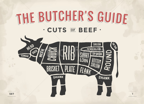 Cut of beef set. Poster Butcher diagram and scheme - Cow. Vintage typographic hand-drawn. Vector ill Stock photo © FoxysGraphic