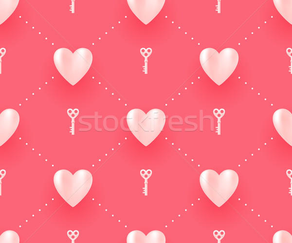Seamless pattern with white hearts and keys on a red background for Valentine Day. Vector Illustrati Stock photo © FoxysGraphic