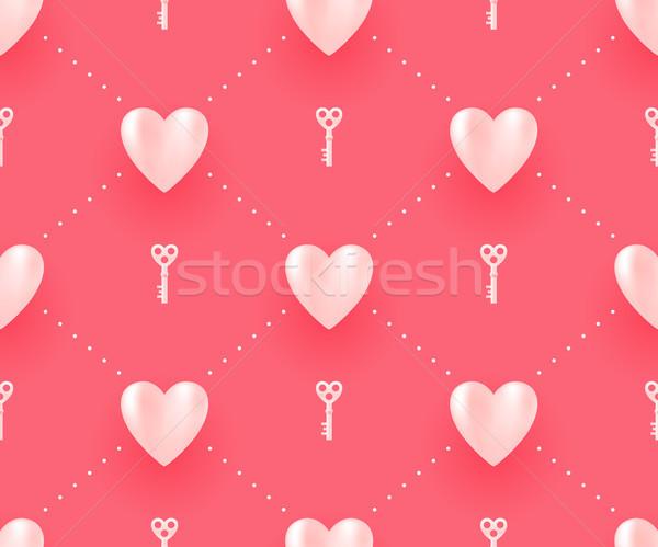 Witte harten sleutels Rood Valentijn Stockfoto © FoxysGraphic