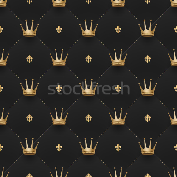 Seamless gold pattern with king crowns and fleur-de-lys on a dark black background. Vector illustrat Stock photo © FoxysGraphic