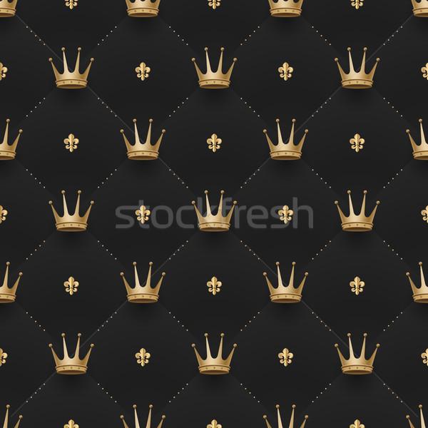 Végtelenített arany minta király sötét fekete Stock fotó © FoxysGraphic