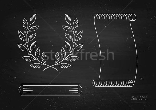 Set of old vintage ribbon banner, laurel wreath in engraving style Stock photo © FoxysGraphic