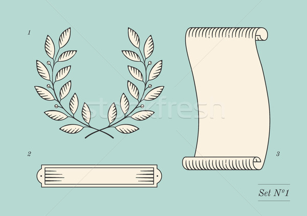 Set of old vintage ribbon banner and laurel wreath in engraving style. Hand drawn design element. Ve Stock photo © FoxysGraphic
