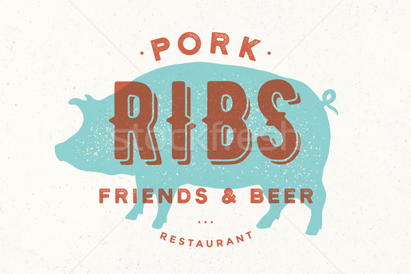 Pig, pork. Poster for restaurant Stock photo © FoxysGraphic