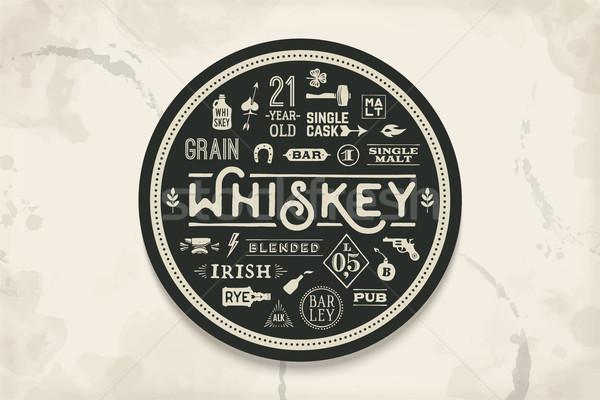 コースター ウイスキー アルコール 飲物 ヴィンテージ ストックフォト © FoxysGraphic