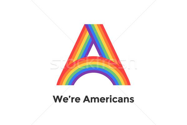 Rainbow lettre texte signe emblème étiquette Photo stock © FoxysGraphic