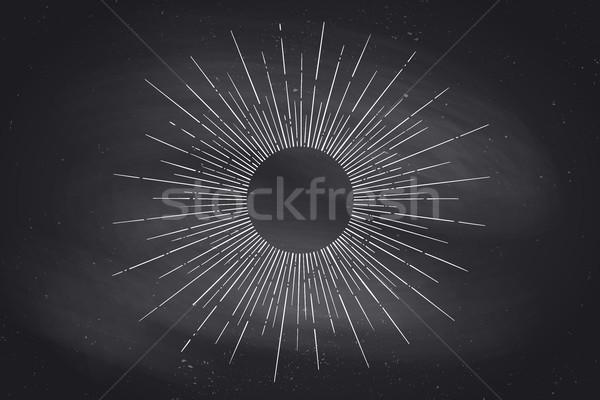 Lineair tekening licht stralen zon zwarte Stockfoto © FoxysGraphic