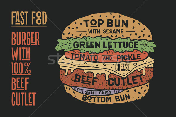 Hamburger or Burger with meat cutlet Stock photo © FoxysGraphic