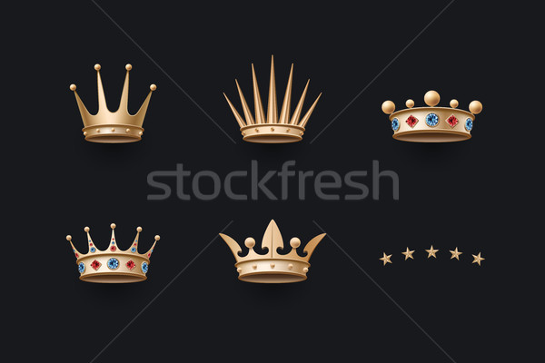 Set of royal gold crown and five stars icons Stock photo © FoxysGraphic