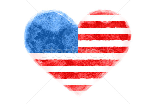 Poster of watercolor heart shape United State America flag Stock photo © FoxysGraphic