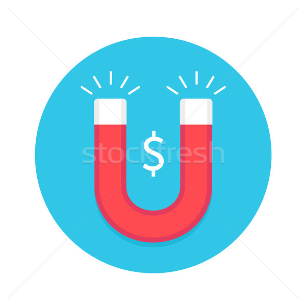 Icône aimant rouge blanche symbole dollar Photo stock © FoxysGraphic
