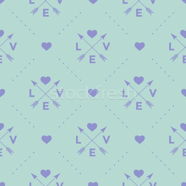Végtelen minta nyíl szív szó szeretet türkiz Stock fotó © FoxysGraphic