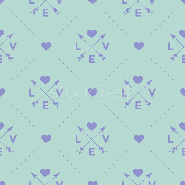 стрелка сердце слово любви бирюзовый Сток-фото © FoxysGraphic