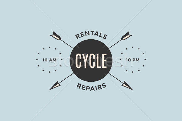 Embleem fiets winkel pijlen tekst cyclus Stockfoto © FoxysGraphic