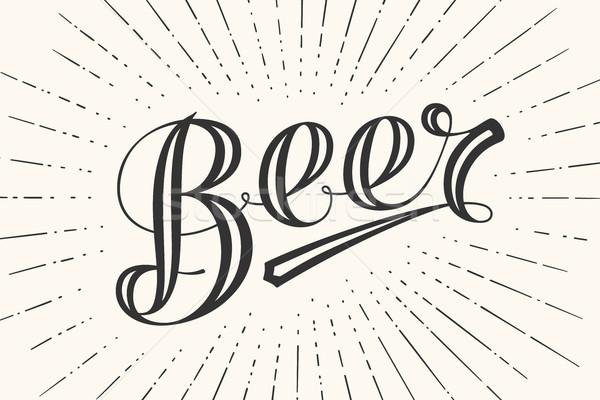 Stockfoto: Bier · schoolbord · witte · zwart · wit · vintage