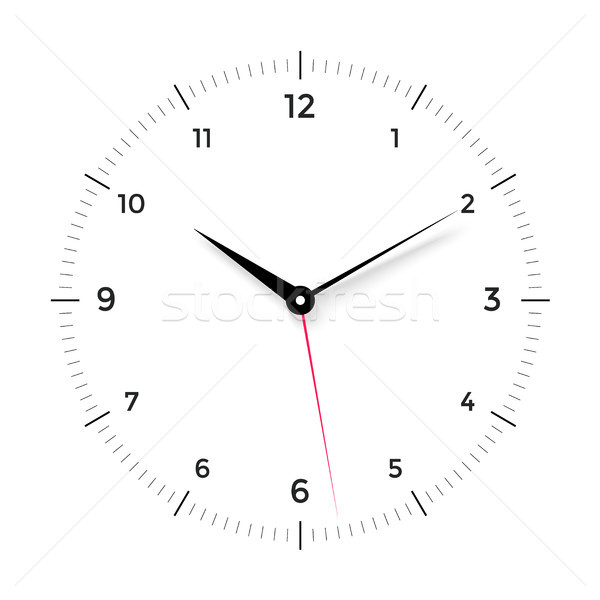 White clock face with black and red pointer on white background Stock photo © FoxysGraphic