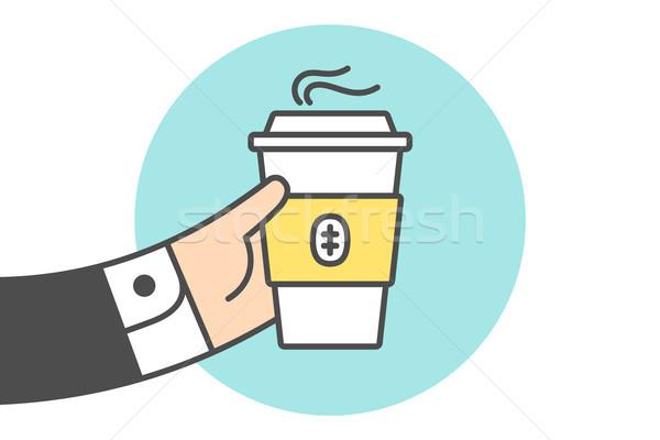 ストックフォト: アイコン · コーヒーカップ · ビジネスマン · 手 · 行 · グラフィック
