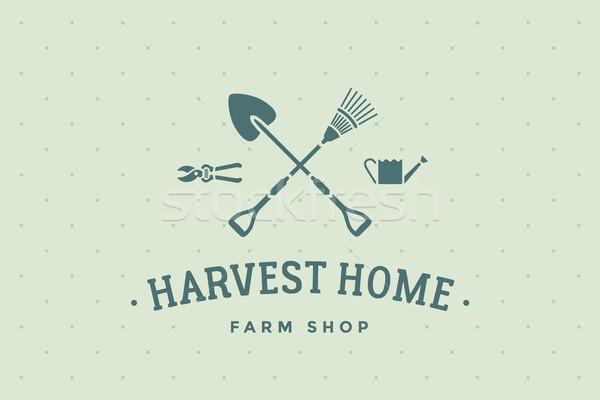 Etiqueta granja tienda cosecha casa eco Foto stock © FoxysGraphic