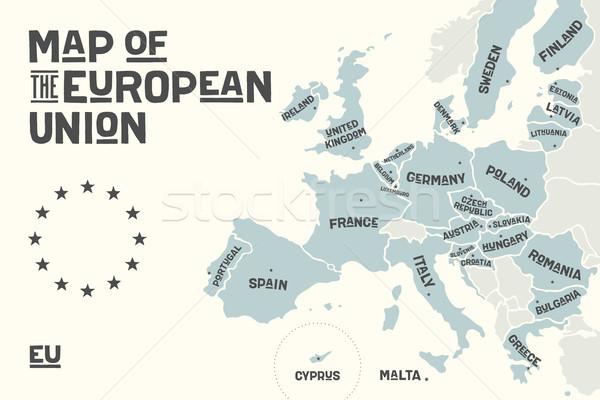 ポスター 地図 ヨーロッパの 組合 国 印刷 ストックフォト © FoxysGraphic