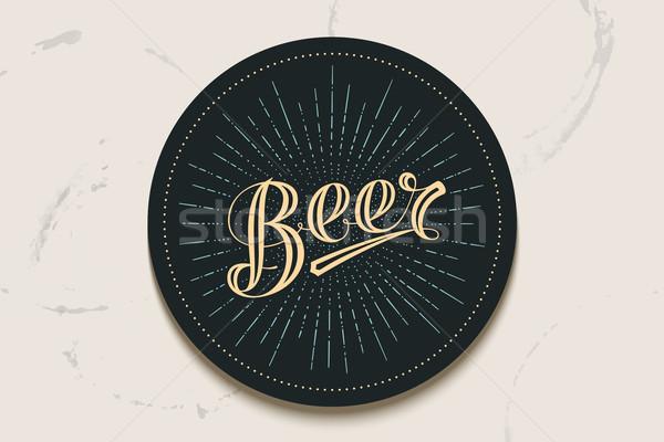 コースター 手描き ビール ヴィンテージ 図面 バー ストックフォト © FoxysGraphic