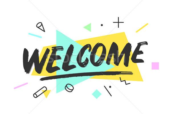 歓迎 バナー 吹き出し ポスター ステッカー 幾何学的な ストックフォト © FoxysGraphic