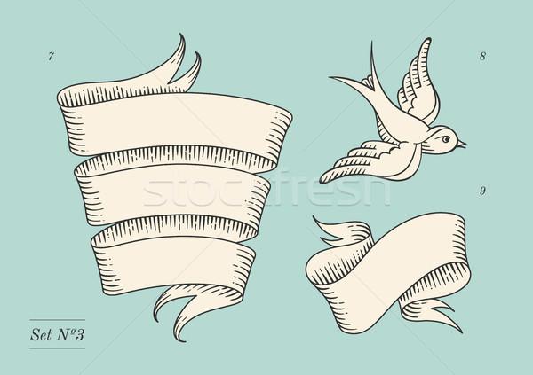 セット 古い ヴィンテージ リボン バナー 図面 ストックフォト © FoxysGraphic