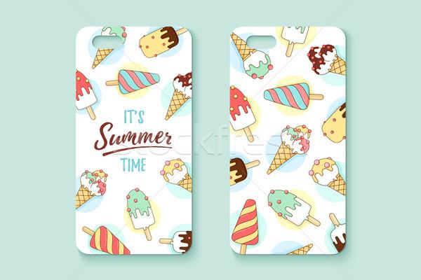 Sjabloon telefoon geval icecream tekst zomer Stockfoto © FoxysGraphic