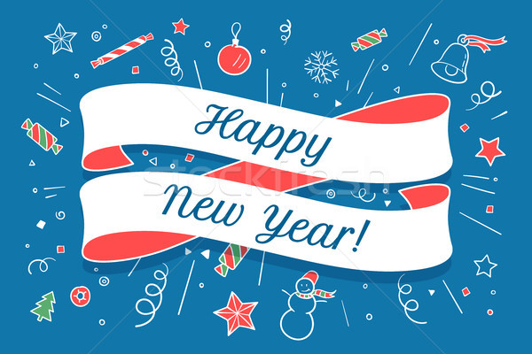 Greeting card with red ribbon and Happy New Year Stock photo © FoxysGraphic