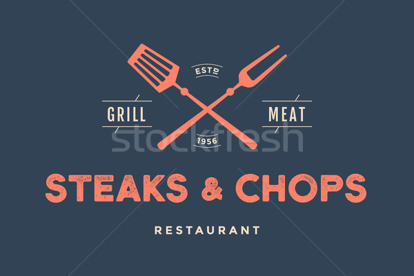 Label of restaurant with grill symbols Stock photo © FoxysGraphic