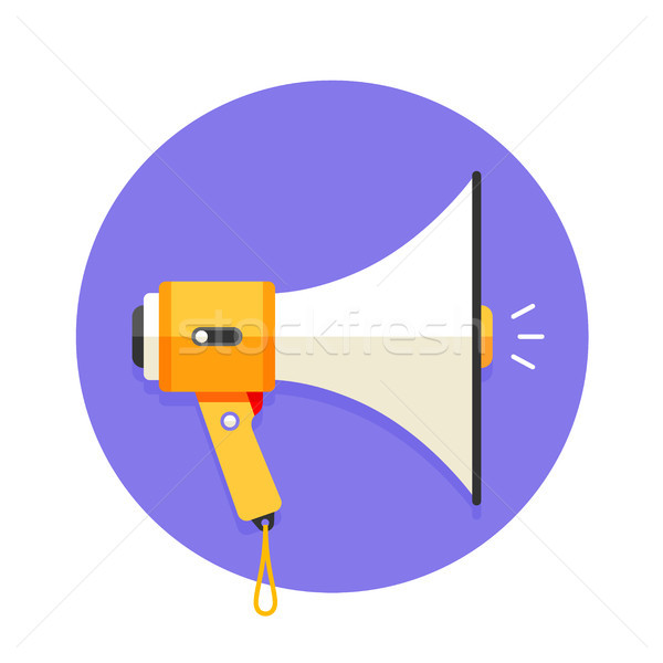 Icon of white and orange megaphone or mouthpiece Stock photo © FoxysGraphic