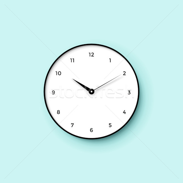 Icon of white clock face with shadow on mint wall background Stock photo © FoxysGraphic