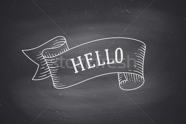 Wenskaart lint woord hallo oude banner Stockfoto © FoxysGraphic