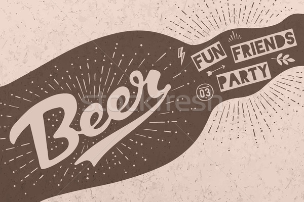 Bottle with hand drawn lettering, text Beer Here Stock photo © FoxysGraphic