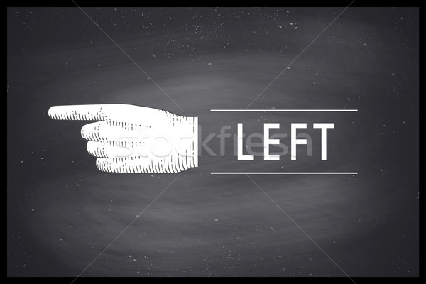 Drawing of hand sign with pointing finger in engraving style Stock photo © FoxysGraphic
