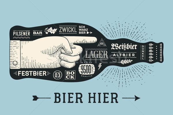 Poszter üveg sör kézzel rajzolt szöveg ravatal Stock fotó © FoxysGraphic