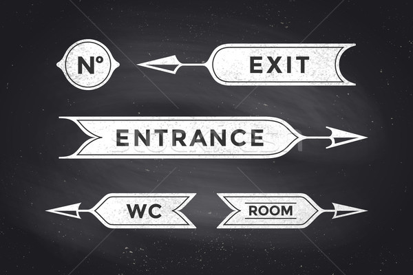 Vintage arrows and banners with inscription Entrance, Exit, Room, WC Stock photo © FoxysGraphic