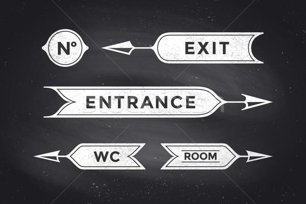 ヴィンテージ バナー 碑文 入り口 終了する ストックフォト © FoxysGraphic