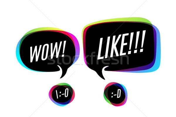 Stock foto: Farbenreich · Blasen · Text · wow · wie · Lächeln