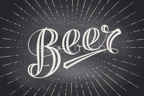 Hand drawn lettering Beer on chalkboard background Stock photo © FoxysGraphic