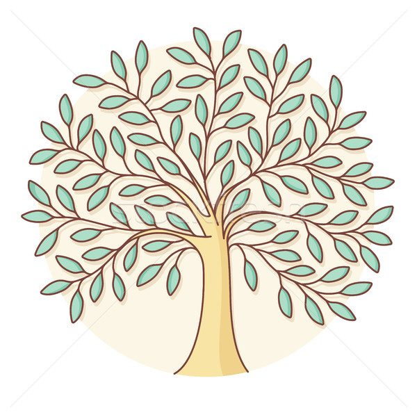 Icon of green tree in circle background. Colorful design Stock photo © FoxysGraphic
