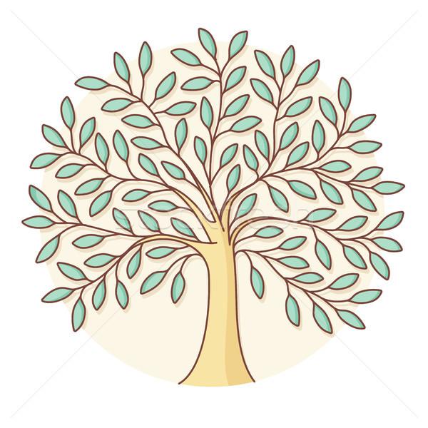 Icon groene boom cirkel kleurrijk ontwerp boom Stockfoto © FoxysGraphic