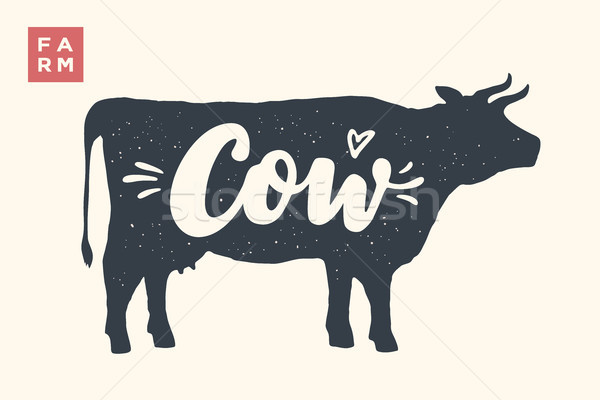 Isolated cow silhouette with lettering Stock photo © FoxysGraphic
