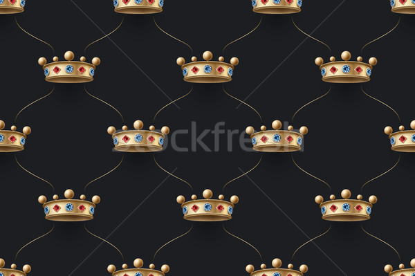 Seamless gold patter and king crown with diamond Stock photo © FoxysGraphic