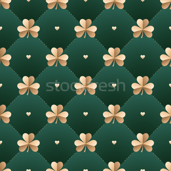 Seamless irish gold pattern with clover and heart on a dark green background. Pattern for St. Patric Stock photo © FoxysGraphic